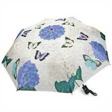Blue & Pink Hydrangea Butterfly Folding Compact Auto Open & Close Umbrella 44""
