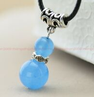 Fashion original handmade natural Blue jade bead Tibet silver Pendant necklace