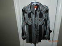 Vintage Men's Rustler Western Shirt Pearl Snap X-long Tails 16-32/33 Large