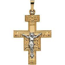 San Damiano 14K Yellow Gold Crucifix Pendant Religious Christian Medal