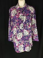 White Stag Women's Size XL (16-18) Purple Multi Floral Button Up 3/4 Sleeve EUC