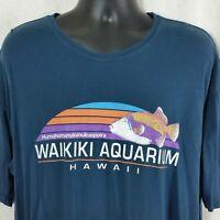 Waikiki Aquarium Hawaii Mens XXL Blue Tee Shirt Humuhumunukunukuapua'a Souvenir