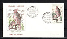 Gabon    enveloppe 1er jour  faune oiseau aigle couronné  1964