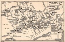 London messieurs's & femmes clubs. st james 'mayfair whitehall 1953 old map