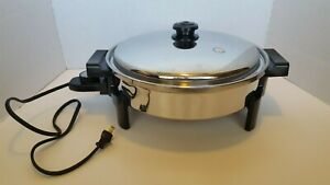 """SALADMASTER 12"""" Oil Core Electric Skillet W/ Vented Lid 7256 LOOKS & WORKS GREAT"""