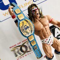 WWF Blue Intercontinental Faux Leather Belt for Mattel/Jakks/Hasbro Figures