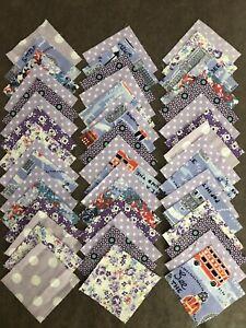 "Lot 48 Floral 2.5"" 2 1/2 Inch Fabric Square Pieces Layer Quilt Mini Block Purple"