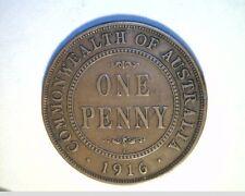 1916 Australia, Lg One Penny, Cir Medium Grade Bronze Coin (Aust-89)