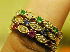 R103 Genuine 9K Gold Diamond & Ruby,Emerald Sapphire Ring matching set stackable