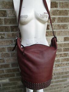 Women's Coach Bleecker Grommets Duffle Brown Leather W/Stud Bottom #32392