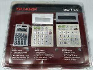 Calculator Sharp Bonus 3 Pack Lot Bundle EL-243S EL-330T EL-334T NEW SEALED