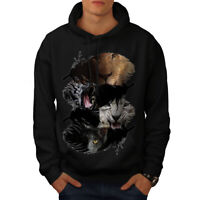 Wellcoda Big Cat Tiger Lion Mens Hoodie, Creature Casual Hooded Sweatshirt