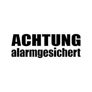 Aufkleber Tattoo Achtung Alarmgesichert schwarz für Aussenseite 4061963014899