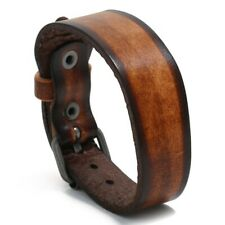 "MEN/ Women Vintage Two Tone Genuine Leather Wristband/ Leather Bracelet 7""-9.25"""