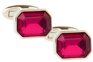 Raspberry Pink Diamond Swarovski Elements Crystal Men CuffLinks CUFFLINKS DIRECT
