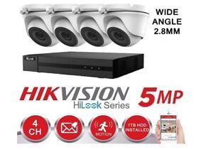 HIKVISION 5MP CCTV SYSTEM 4CH 8CH DVR TURBO DOME HD TURRET CAMERA WHITE KIT 1TB