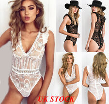 UK Womens Full Lace Cross VNeck Plunge Stretch Bodysuit Lingerie Top Size 6-14