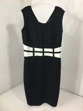 c32f8902209 Ashley Stewart Women s Grid Waist Sheath Dress Black white Size 14 16