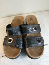 Clarks Collection Black Leather Cut Out Strap Slide Sandal Shoes Women 7.5 EU 38