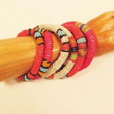 6PC Handmade Beaded Southwestern Red  Color Bangle Bracelet WHOLESALE LOT