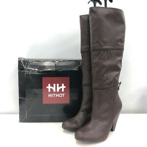 New Hit Hot Knee High Boots UK6 EU39 Brown Leather Changeable Boxed 031370