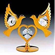 "SWAROVSKI CRYSTAL ELEMENTS ""Doves"" FIGURINE - Free Standing 24KT GOLD PLATED"