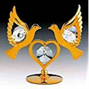 Doves FIGURINE - FREE STANDING 24KT GOLD PLATED WITH AUSTRIAN CRYSTALS
