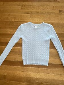 AQUA 100% CASHMERE Light Blue Cable Knit  Long Sleeve Short Sweater Pull Over XS