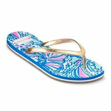 Lilly Pulitzer Target My Fans Flip Flops 9 New With Tag Blue Gold Pink