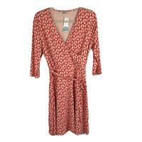 41 Hawthorn Women's Dress Renesme Faux Wrap Coral Geo Cube Print Size M NWT