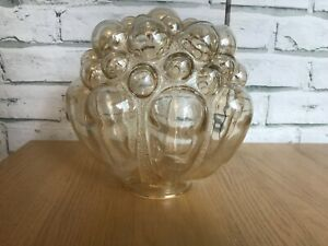 """Vintage 60s Helena Tynell for Limburg Glass Bubble LightShade 7.5""""H x 23.5"""" circ"""