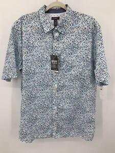 NWT Van Heusen Never Tuck Shark Print Shirt Short Sleeve Summer XLT 17 / 17 1/2