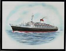 Original Art Work.tn Leonardo Da Vinci. ocean liner. Italia.Profile