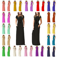 RSVH WCSPM Ladies Women Cap sleeve Plain Maxi Casual Long Dress with Pockets