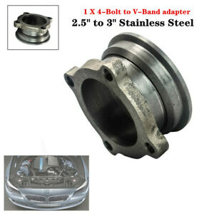 """2.5""""to3""""Stainless Car V-Band Turbo Downpipe 4 Bolt Exhaust Flange Adapter Trim"""