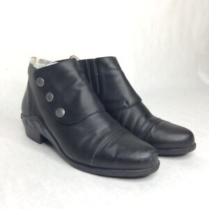 Ariat Side Snap Bootie Ankle Boot Womens size 9 Black Leather Elastic Chelsea