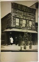 Real Photo Postcard  RPPC ~ Two Men In Front Of Log Cabin Restaurant
