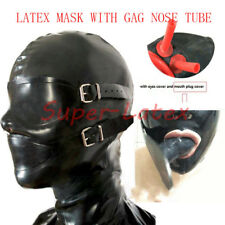 109 Latex Rubber Full Enclosure Hood Rubber Hood with Eyeshade and Gag NOSE TUBE