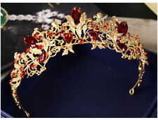 Baroque Vintage Red Crystal Bead Royal Gold Crown Bridal Wedding Headdress Tiara