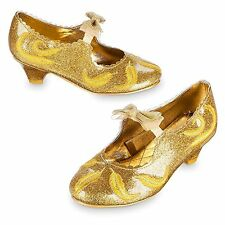 NWT Disney Store Belle beauty Gold Deluxe Costume Shoes Live Action Film 11/12