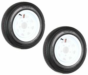 2-Pack Trailer Tire On Rim 530-12 LRC 5.30-12 5Hole White Spoke Wheel