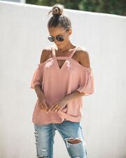 UK Womens Cold Off Shoulder Tops T Shirt V Neck Short Sleeve Summer Top Blouse