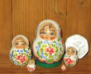 Russian nesting doll house Matryoshka MINIATURE 5 tiny White Green Marchenko