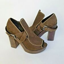 JOIE Women's Peep Toe Leather Ankle Strap Platform Sandals Heels Sz 37.5 US 6.5