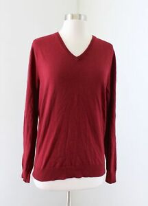 NWT J Crew Mercantile Mens Brick Red Slim Fit V Neck Sweater Perfect Merino Sz S
