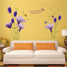 Purple PVC Lily Flower Beautiful Wall Stickers Vinyl Art Mural Living Room Decal