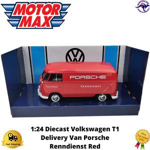Diecast Model Car 1:24 Volkswagen T1 Delivery Van Porsche Renndienst Red New