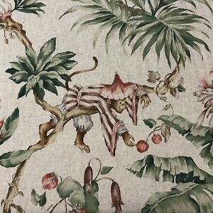 Oriental Monkey | Exotic Floral Animal Fabric | Double Width 280cm | Curtains