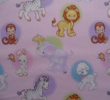 Monkey Elephant Rabbits Lambs on Pink Precious Moments Baby Fabric Quilting FQ