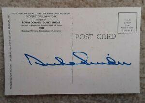 Duke Snider Autographed Signed Reverse HOF Plaque Postcard Brooklyn Dodgers